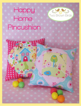 Happy Home Pincushion Pattern - Two Brown Birds